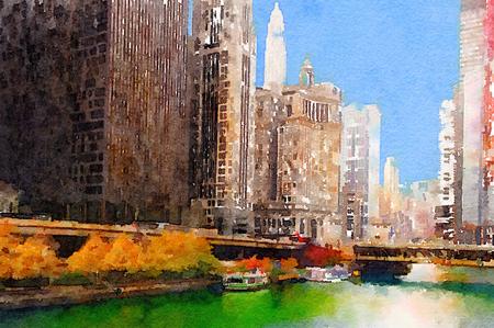 arte abstracto: Hermosa pintura de la acuarela del horizonte de Chicago