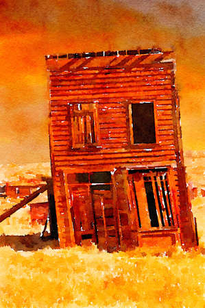old west: Nice Simple Watercolor painting of a Old west Ghost town Building Stock Photo