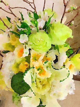 lirio blanco: Muy Niza imagen de un ramo de la acuarela Foto de archivo