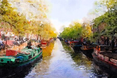 amsterdam canal: Nice Watercolor Painting of  a canal in Amsterdam