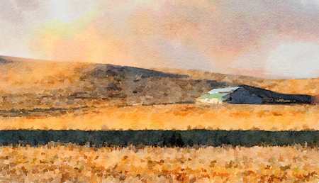 northern: Nice Simple watercolor painting Of a Lone northern California Barn Stock Photo