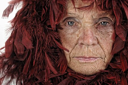 Very Interesting Image of a Old woman and feathers