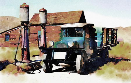 ghost town: Nice original Painting Of a vintage truck in a Ghost town Stock Photo