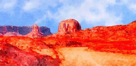 monument valley: Nice watercolor Original Painting of Monument Valley Stock Photo
