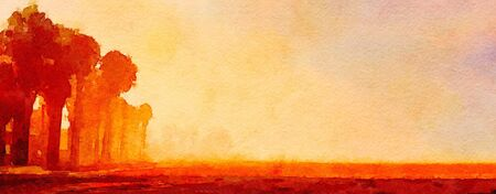 ink painting: Striking Watercolor Painting of early Morning at the beach