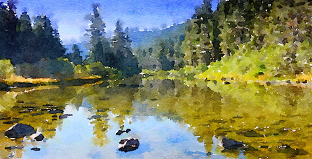 Nice Little watercolor Painting Of the merced River in Yosemite Stock Photo