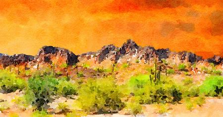 rugged: Beautiful Hot , rugged desert scene of the mexico Border area