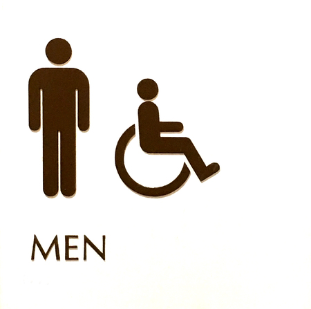 mensroom: White sign depicting a mens Bathroom