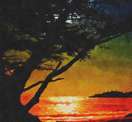 moonrise: Beautiful Painting Of the Moonrise at Carmel Beach