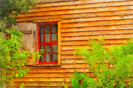 Lovely simple painting Of a red Window on the side of a House