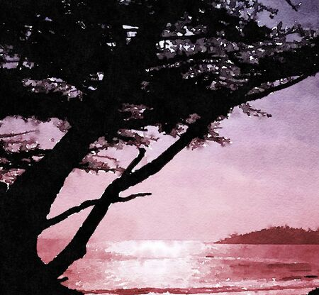 california beach: beautiful Painting of a Northern California Beach