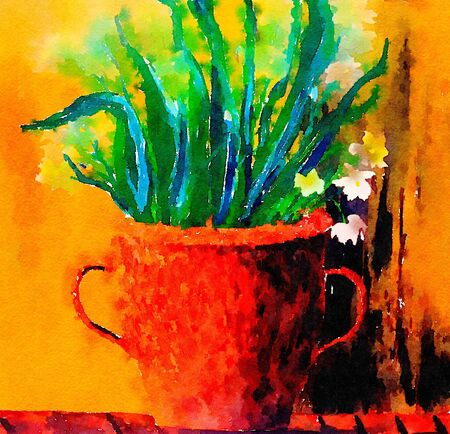 Nice painting Of a Pot full of flowers