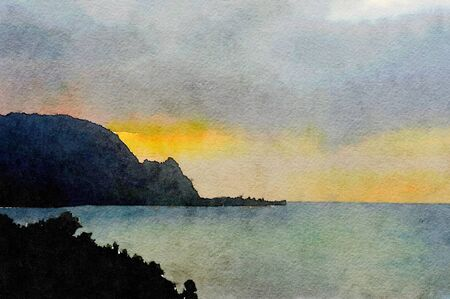 coast: Nice watercolor of the Napali coast at sunset