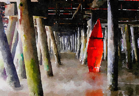 pier: Beautiful Painting of a rescue Boat under the Pier in Santa Monica
