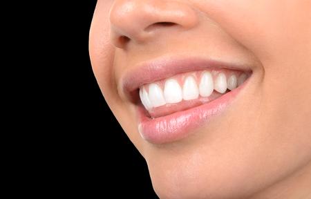 teeth smile: Image of very Beautiful Clean Teeth on Black