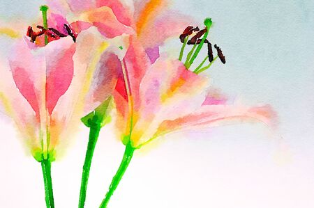 lillies: Beautiful Original Watercolor of Pink Lillies