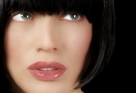 style woman: Closeup Face of Beautiful High Fashion Model