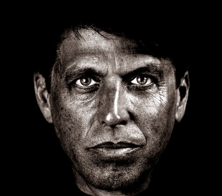 Very Striking Image Of a Middle aged Coal miner photo