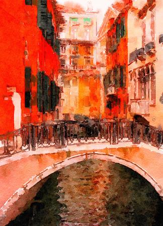 vibrant paintbrush: Beautiful Painting of the Famous bridge of Sighs