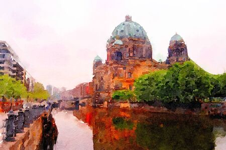 early morning: Beautiful painting of the Berlin Dome in early Morning Stock Photo