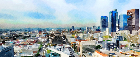 abstract: Very Nice Wide painting Of Los Angeles from top Of City Hall Stock Photo