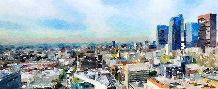 Zeer mooie brede schilderij van Los Angeles van de top van het stadhuis Stockfoto