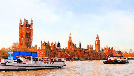 river thames: Beautiful Original painting of the River Thames in London with Big Ben Stock Photo