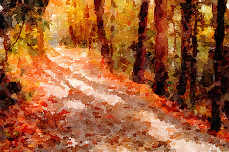 forest path: Nice original Painting of a path through the forest