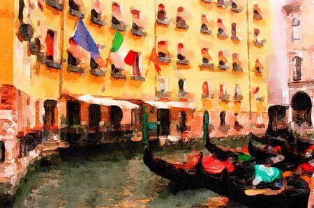 venice italy: Beautiful Painting of the gondolas in Venice italy