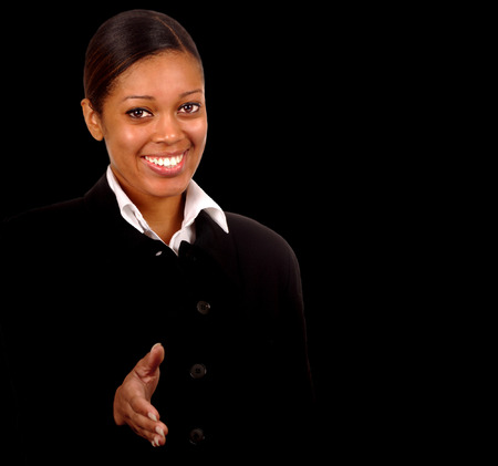 Young Black Business Woman on Black shaking Hands