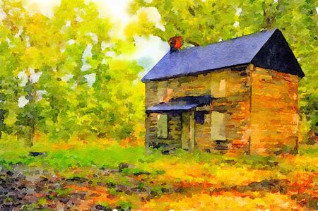 nice house: Very Nice watercolor painting Of a Vintage House in the woods Stock Photo