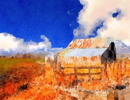 vibrant paintbrush: nice Vintage barn in wyoming Mountains Stock Photo