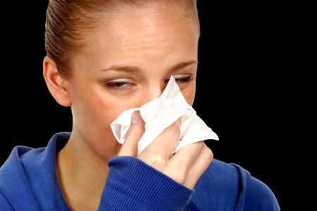 sniffles: Woman With Flu and hankerchef