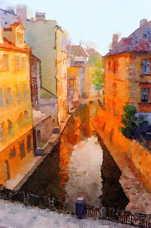 Very Nice painting of a canal in Old Prague Stock Photo