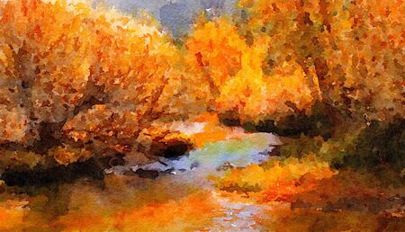 beautiful Painting Of the River running through Lee Vining. Stock Photo