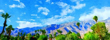 brushed: Beautiful Original painting Of the Mountains around palm Springs,California Stock Photo