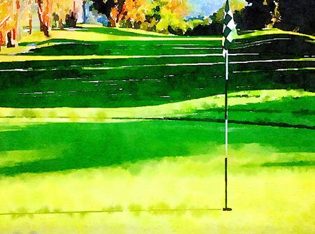 Prachtige aquarel schilderij van hole nummer één op de golfbaan Stockfoto