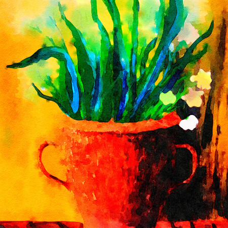 Beautiful large scale watercolor painting of Lillies in a Brass vase Stock Photo