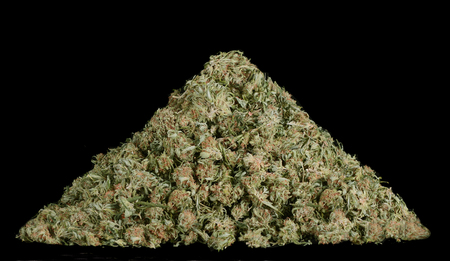 Beautiful Image Of 1 Pound of Marijunia in a Pyramid on Black