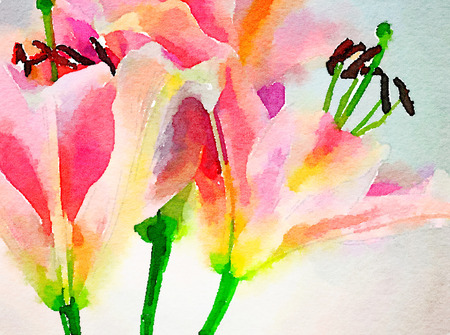 Very Nice Original painting of Day Lillies in watercolor