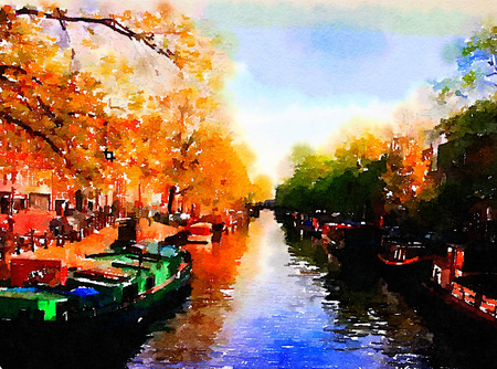 Very Nice Watercolor painting Of Amsterdam and Canals Foto de archivo