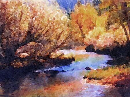 beautiful Watercolor painting Of Lee Vining River near yosemite