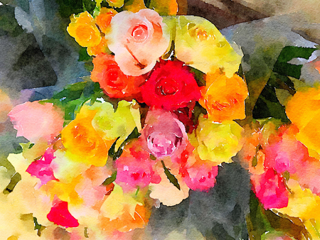 very nice large Bouquet of Roses in Watercolor Stock Photo