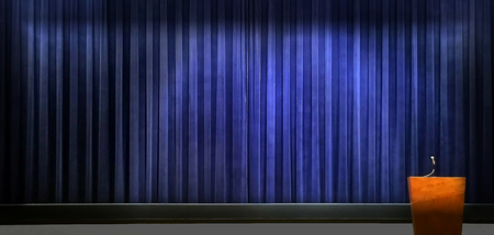 Very nice Image of a presentation Stage with Podium,curtain and Mic Standard-Bild - 100283285