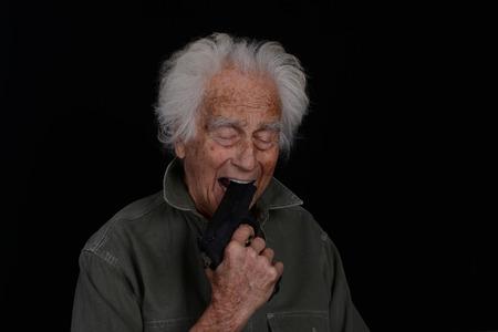 Dramatic Image of a senior man who has had enough