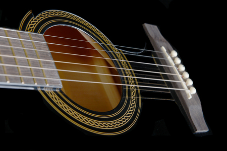 The bridge,Saddle and sound Hole On a Beautiful Acoustic Guitar