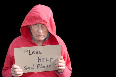 Sad Image of a senior Homeless man In Studio