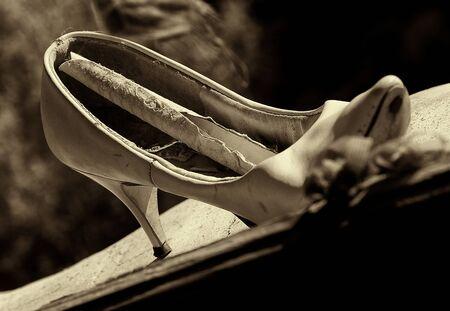 Old Vintage high heel shoe rotting in the desert Window