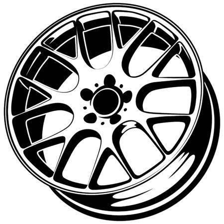 Silueta de vector de llanta de rueda de coche, icono, logotipo, monocromo, color en negro y transparente para el diseño conceptual Logos