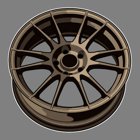 Car wheel illustration for conceptual design. very good for your logo, t shirt, poster, wall art, etc. Çizim